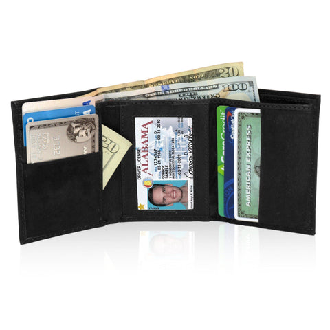Genuine RFID-Blocking Best Genuine Leather Tri-fold Wallet For Men - Black - WholesaleLeatherSupplier.com