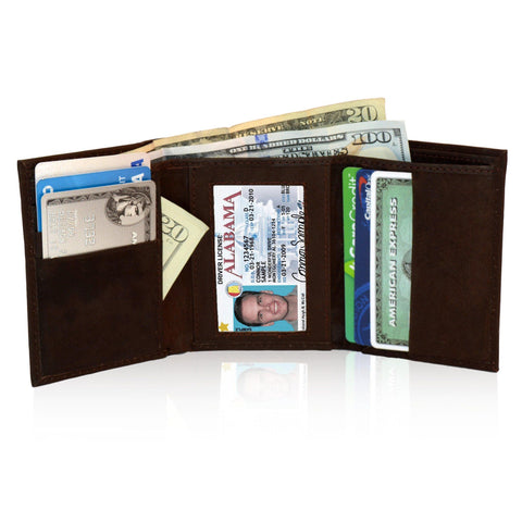 Genuine RFID-Blocking Best Genuine Leather Tri-fold Wallet For Men - Brown - WholesaleLeatherSupplier.com