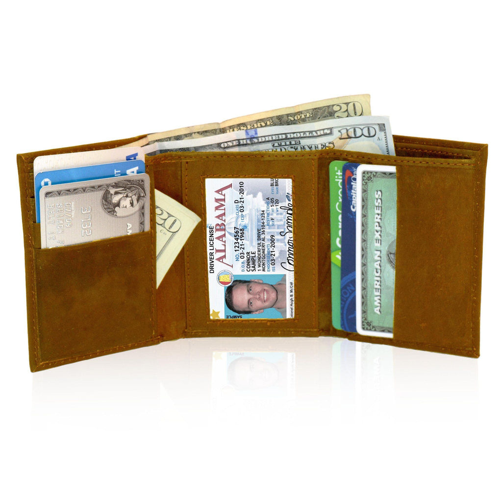 Genuine RFID-Blocking Best Genuine Leather Tri-fold Wallet For Men - Tan - WholesaleLeatherSupplier.com