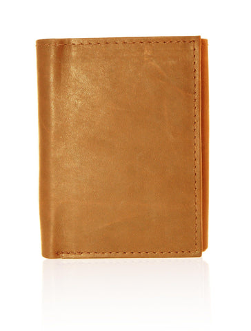 Genuine RFID-Blocking Best Genuine Leather Tri-fold Wallet For Men - Tan - WholesaleLeatherSupplier.com  - 4