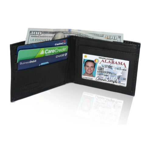 Adorable Deluxe RFID-Blocking Genuine Leather Bi-fold - Black