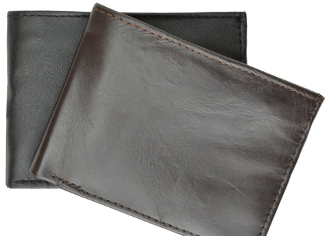 Deluxe RFID-Blocking Genuine Leather Bi-fold - Black - WholesaleLeatherSupplier.com