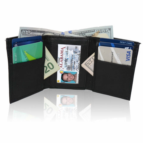Deluxe RFID-Blocking Genuine Leather Tri-fold Wallet For Men - WholesaleLeatherSupplier.com
