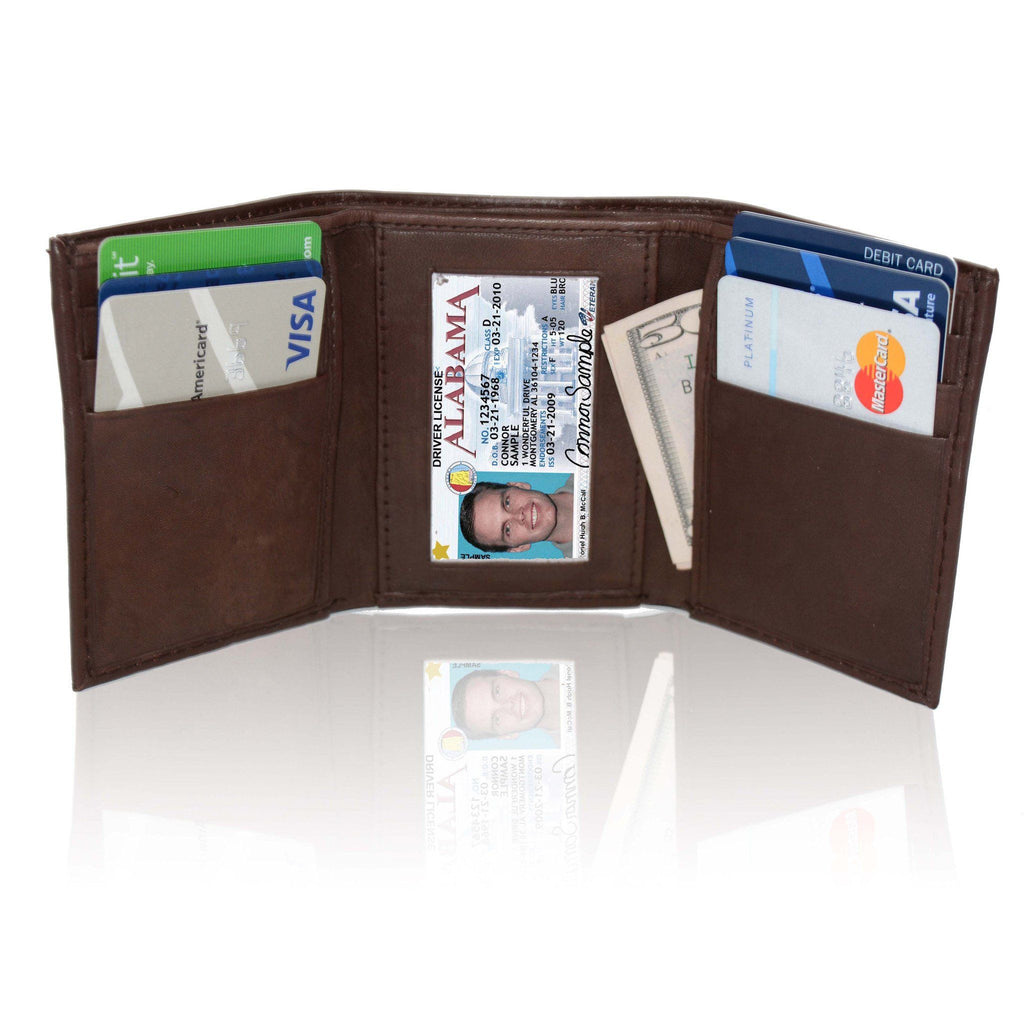 Deluxe RFID-Blocking Genuine Leather Tri-fold Wallet For Men - Brown - WholesaleLeatherSupplier.com  - 1