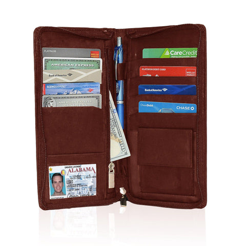 Genuine RFID-Blocking Men's Leather Bifold Wallet Organizer Checkbook Card Case - Tan - WholesaleLeatherSupplier.com  - 4