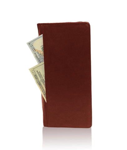 Genuine RFID-Blocking Men's Leather Bifold Wallet Organizer Checkbook Card Case - Burgundy