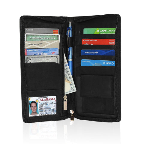 Genuine RFID-Blocking Men's Leather Bifold Wallet Organizer Checkbook Card Case - Tan - WholesaleLeatherSupplier.com