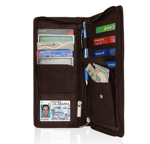 Genuine RFID-Blocking Men's Leather Bifold Wallet Organizer Checkbook Card Case - Tan - WholesaleLeatherSupplier.com  - 11