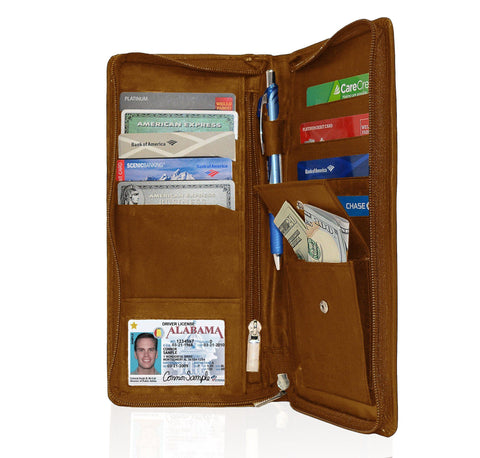 Genuine RFID-Blocking Men's Leather Bifold Wallet Organizer Checkbook Card Case - Brown