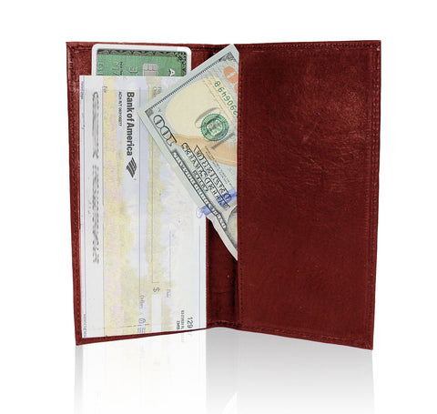 Deluxe RFID-Blocking Leather Check Book Holder - Brown - WholesaleLeatherSupplier.com  - 9