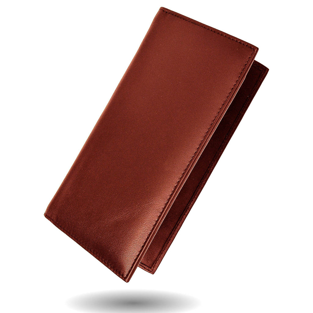 Deluxe RFID-Blocking Leather Check Book Holder - Burgundy - WholesaleLeatherSupplier.com