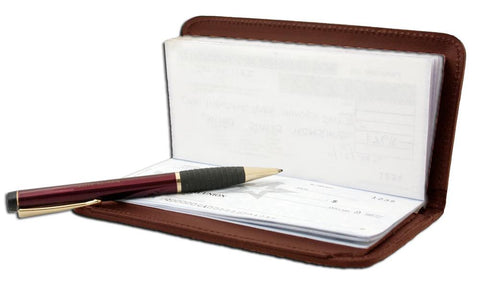 Deluxe RFID-Blocking Leather Check Book Holder - Black - WholesaleLeatherSupplier.com  - 8