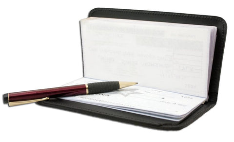 Deluxe RFID-Blocking Leather Check Book Holder - Black - WholesaleLeatherSupplier.com  - 2