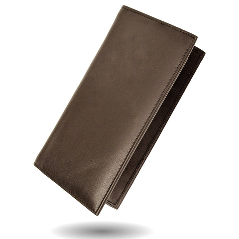 Deluxe RFID-Blocking Leather Check Book Holder - Brown - WholesaleLeatherSupplier.com