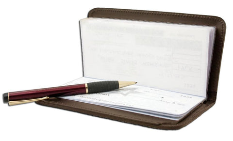 AFONiE RFID-Blocking Deluxe Leather Check Book Holder - Burgundy - WholesaleLeatherSupplier.com  - 5