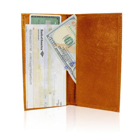 AFONiE RFID-Blocking Deluxe Leather Check Book Holder - Burgundy - WholesaleLeatherSupplier.com  - 12