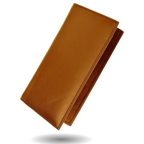 Deluxe RFID-Blocking Leather Check Book Holder - Tan