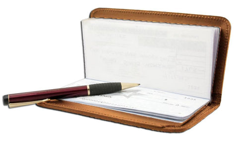 AFONiE RFID-Blocking Deluxe Leather Check Book Holder - Burgundy - WholesaleLeatherSupplier.com  - 11