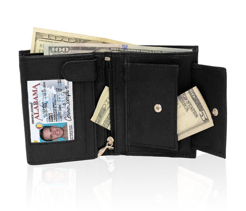 Genuine RFID-Blocking Men's Extra Capacity Leather Wallet - Brown - WholesaleLeatherSupplier.com