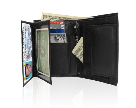 Genuine RFID-Blocking Men's Extra Capacity Leather Wallet - Brown - WholesaleLeatherSupplier.com  - 11