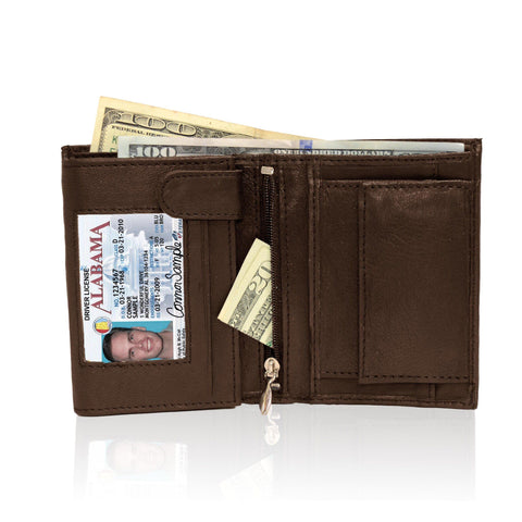 Genuine RFID-Blocking Men's Extra Capacity Leather Wallet - Brown