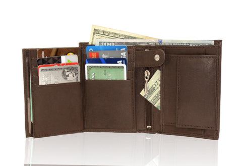 Genuine RFID-Blocking Men's Extra Capacity Leather Wallet - Brown - WholesaleLeatherSupplier.com  - 3