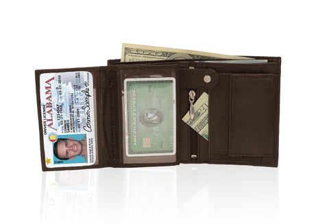 Genuine RFID-Blocking Men's Extra Capacity Leather Wallet - Brown - WholesaleLeatherSupplier.com  - 4