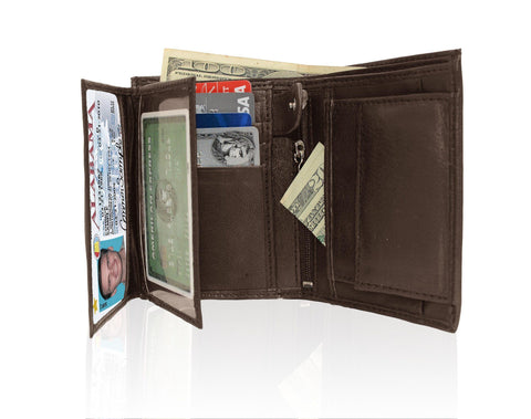 Genuine RFID-Blocking Men's Extra Capacity Leather Wallet - Brown - WholesaleLeatherSupplier.com  - 5