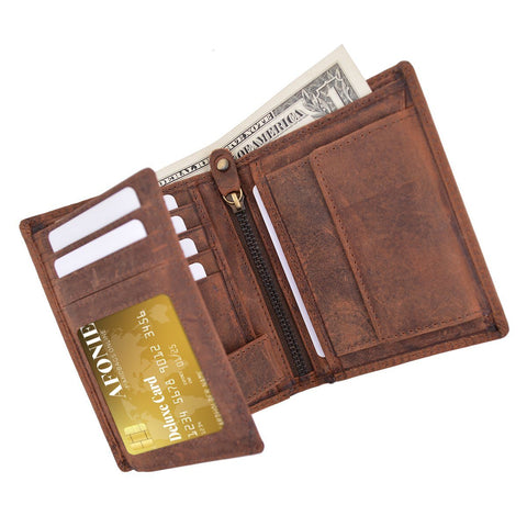 Distressed RFID Blocking European Style Wallet