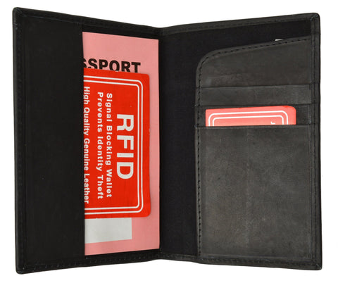 Leather RFID Blocking Passport Case Holder Cover Access Reader Travel New