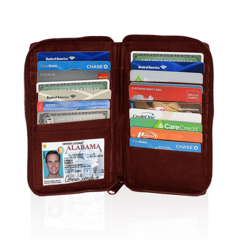 Deluxe RFID-Blocking Durable Genuine Leather Men's Credit Card Holder - Burgundy - WholesaleLeatherSupplier.com  - 1