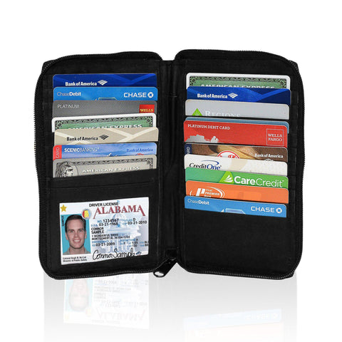 Deluxe RFID-Blocking Durable Genuine Leather Men's Credit Card Holder - Black - WholesaleLeatherSupplier.com  - 1