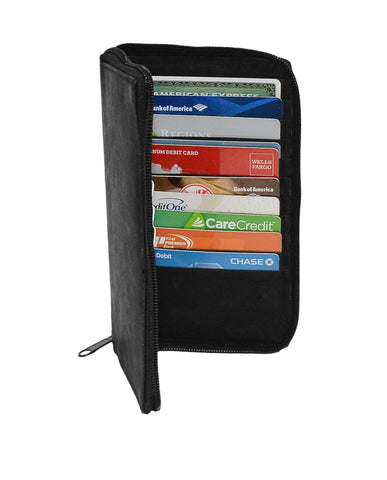 Deluxe RFID-Blocking Durable Genuine Leather Men's Credit Card Holder - Black - WholesaleLeatherSupplier.com  - 2