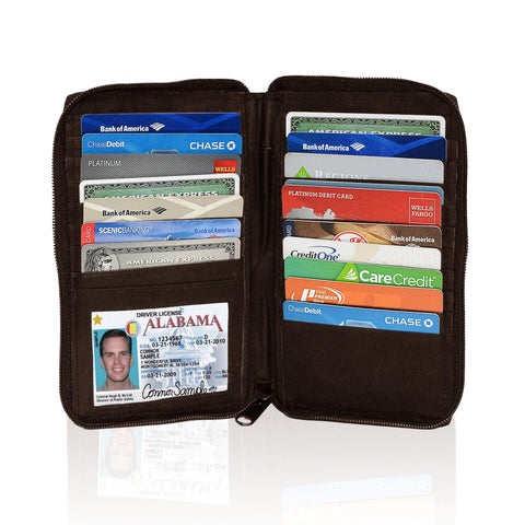 Deluxe RFID-Blocking Durable Genuine Leather Credit Card Holder - Brown - WholesaleLeatherSupplier.com  - 1