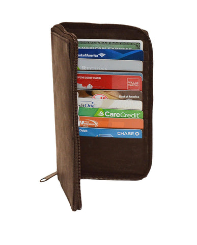 Deluxe RFID-Blocking Durable Genuine Leather Credit Card Holder - Brown - WholesaleLeatherSupplier.com  - 2