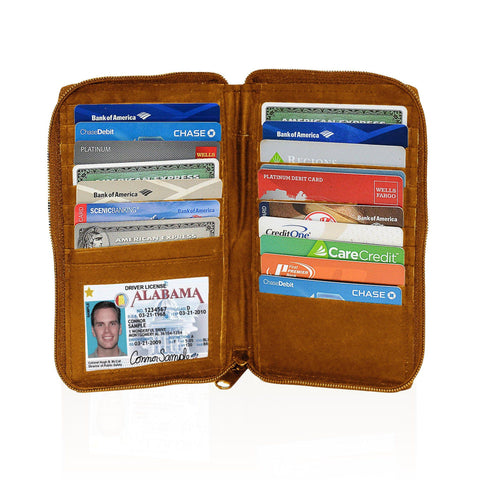Deluxe RFID-Blocking Durable Genuine Leather Men's Credit Card Holder - Tan - WholesaleLeatherSupplier.com  - 1