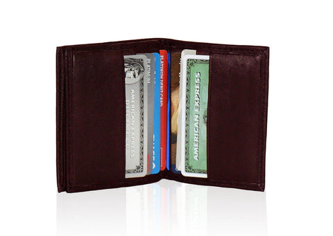 Compact RFID-Blocking Men's Multi-Card Center Flip Bifold Wallet - Burgundy