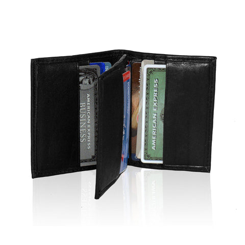 Compact RFID-Blocking Men's Multi-Card Center Flip Bifold Wallet - Black