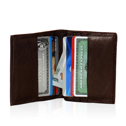 Compact RFID-Blocking Men's Multi-Card Center Flip Bifold Wallet - Brown - WholesaleLeatherSupplier.com