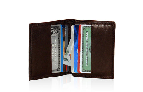 Compact RFID-Blocking Men's Multi-Card Center Flip Bifold Wallet - Black - WholesaleLeatherSupplier.com