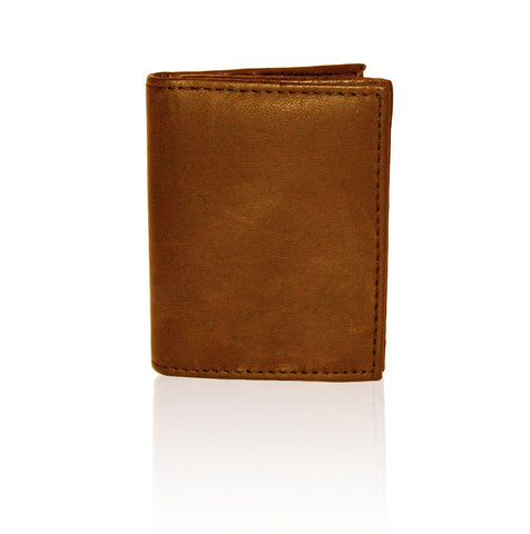Compact RFID-Blocking Men's Multi-Card Center Flip Bifold Wallet - Tan - WholesaleLeatherSupplier.com