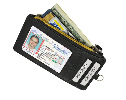 RFID Let It All Hand Leather Black Wallet