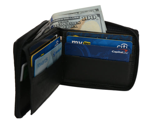 Deluxe RFID-Blocking Flip ID Zipped Soft Leather Bifold Wallet - Black - WholesaleLeatherSupplier.com  - 2