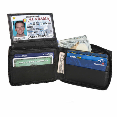 Deluxe RFID-Blocking Flip ID Zipped Soft Leather Bifold Wallet - Black - WholesaleLeatherSupplier.com  - 1