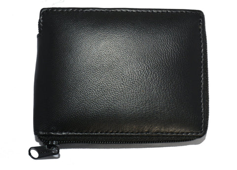 Deluxe RFID-Blocking Flip ID Zipped Soft Leather Bifold Wallet - Black - WholesaleLeatherSupplier.com  - 4
