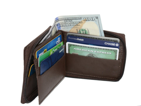 Deluxe RFID-Blocking Flip ID Zipped Soft Leather Bifold Wallet - Brown - WholesaleLeatherSupplier.com  - 2