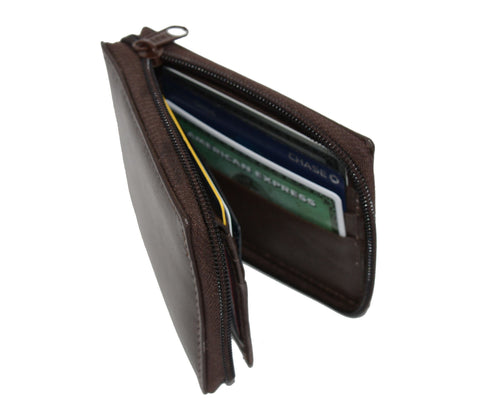 Deluxe RFID-Blocking Flip ID Zipped Soft Leather Bifold Wallet - Brown