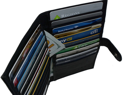 Deluxe RFID-Blocking Soft Leather Bifold with Button Closure - Black - WholesaleLeatherSupplier.com  - 2