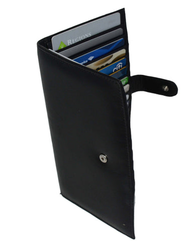 Deluxe RFID-Blocking Soft Leather Bifold with Button Closure - Black - WholesaleLeatherSupplier.com  - 3