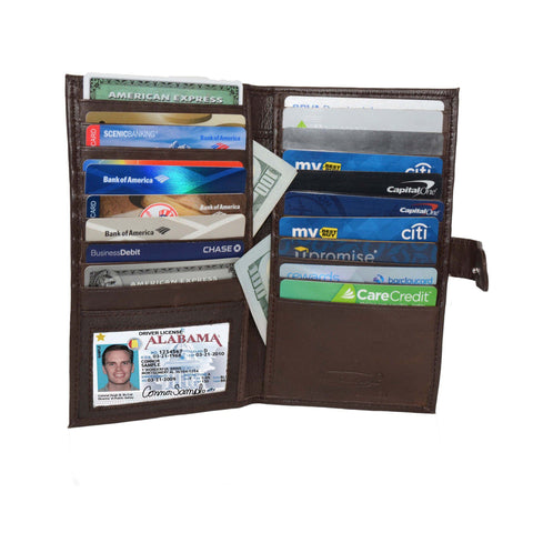 Deluxe RFID-Blocking Soft Leather Bifold with Button Closure - Brown